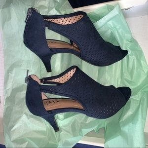 Style & Co. Navy Perforated Suede Heels